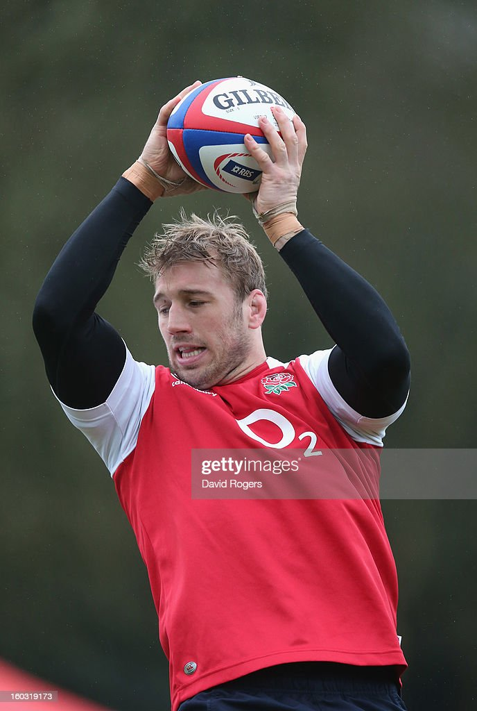 Chris Robshaw catches the ball during the England training session at Pennyhill Park on January 29, 2013 in Bagshot, England.