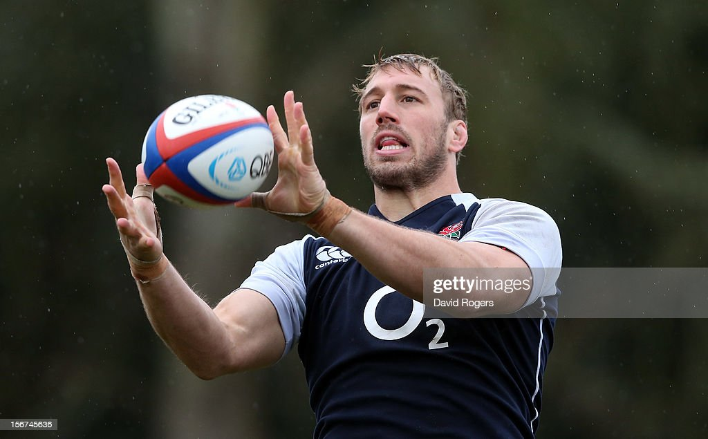Chris Robshaw catches the ball during the England training session held at Pennyhill Park on November 20, 2012 in Bagshot, England.