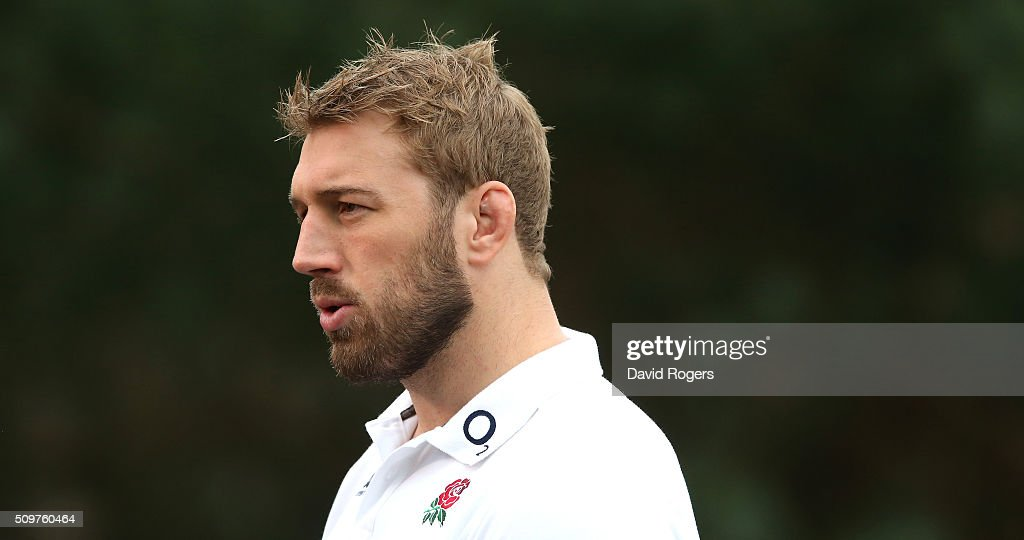 Chris Robshaw faces the media during the England media session held at Pennyhill Park on February 12, 2016 in Bagshot, England.