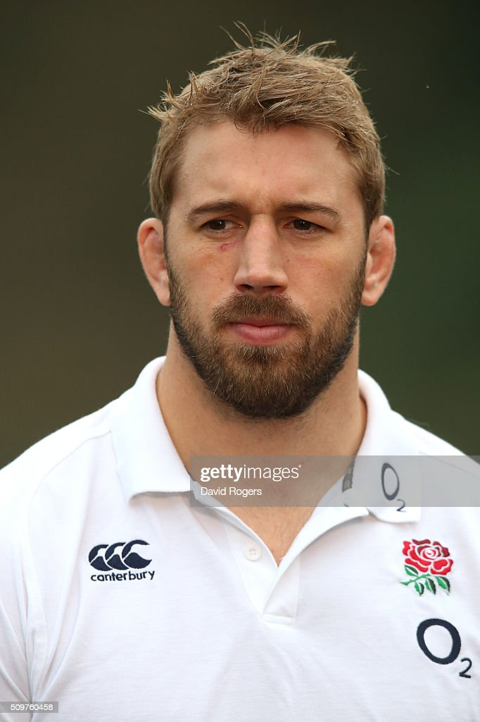 Chris Robshaw looks on during the England media session held at Pennyhill Park on February 12, 2016 in Bagshot, England.