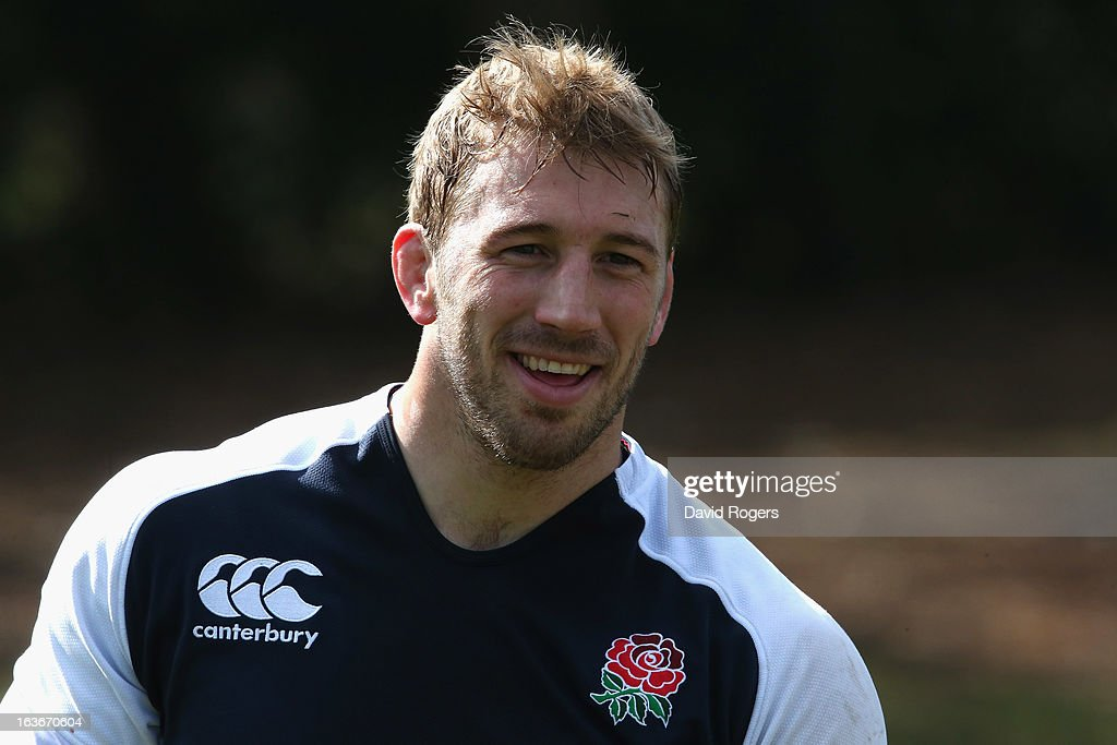 Chris Robshaw looks on during the England training session at Pennyhill Park on March 14, 2013 in Bagshot, England.
