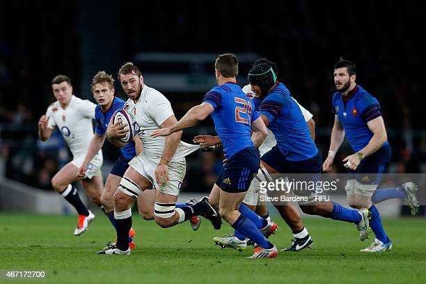 Chris Robshaw of England charges upfield during the RBS Six Nations match between England and France at Twickenham Stadium on March 21 2015 in London...