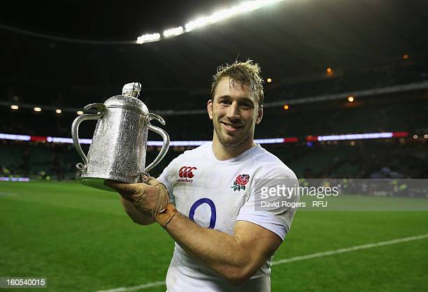 Chris Robshaw of England holds the Calcutta Cup after the RBS Six Nations match between England and Scotland at Twickenham Stadium on February 2 2013...