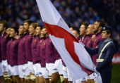 Chris Robshaw of England leads the team in the National Anthems during the RBS Six Nations match between Scotland and England at Murrayfield Stadium...