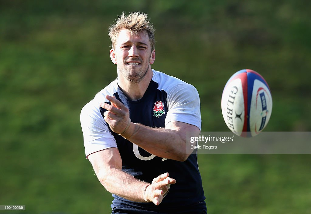Chris Robshaw of England passes during an England training session at Pennyhill Park on January 31, 2013 in Bagshot, England.