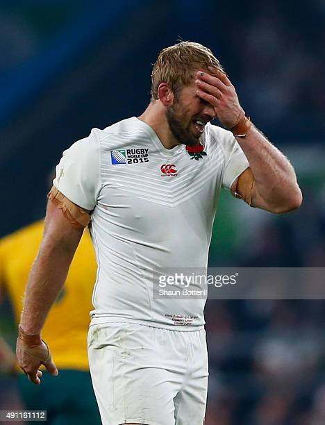 Chris Robshaw of England reacts during the 2015 Rugby World Cup Pool A match between England and Australia at Twickenham Stadium on October 3 2015 in...