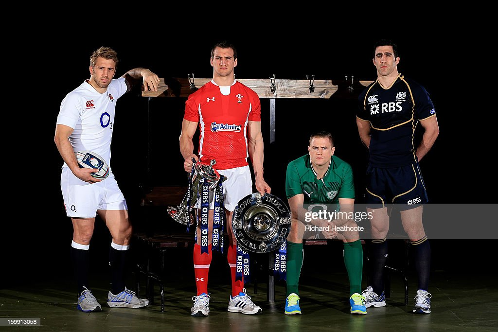 Chris Robshaw of England, Sam Warburton of Wales, Jamie Heaslip of Ireland and Kelly Brown of Scotland pose with the Six Nations trophy and the Triple Crown trophy during the RBS Six Nations launch at The Hurlingham Club on January 23, 2013 in London, England.