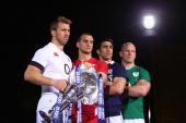 Chris Robshaw of England Sam Warburton of Wales Kelly Brown of Scotland and Paul O'Connell of Ireland pose for a photo during the RBS Six Nations...