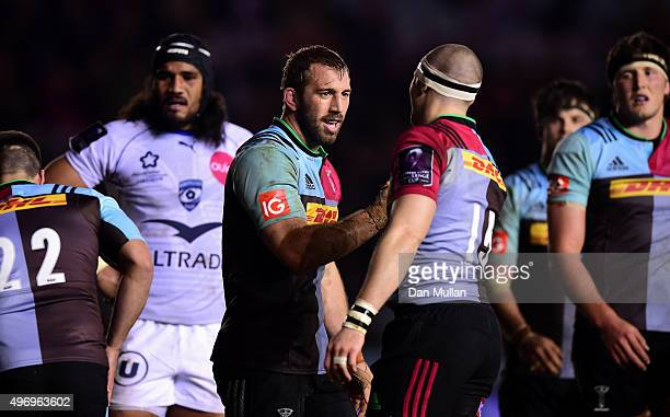 Chris Robshaw of Harlequins celebrates scoring a try with Mike Brown of Harlequins during the European Rugby Challenge Cup Pool 3 match between...
