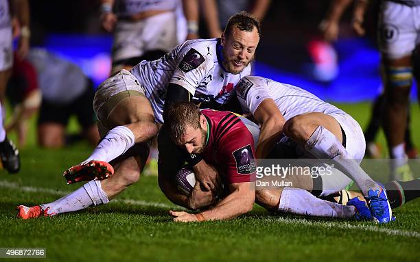 Chris Robshaw of Harlequins dives over for a try during the European Rugby Challenge Cup Pool 3 match between Harlequins and Montpellier at...