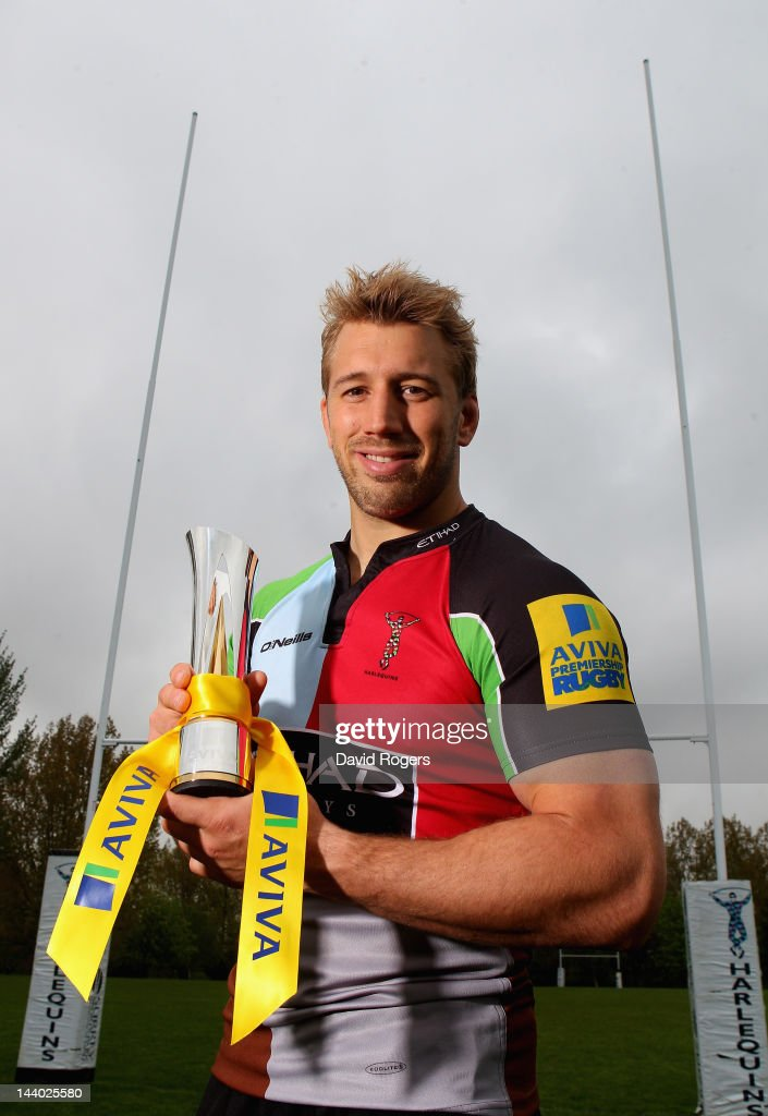 Chris Robshaw of Harlequins poses with the Aviva Premiership Rugby Player of the Season trophy at the Harlequins training ground on May 03 2012 in...