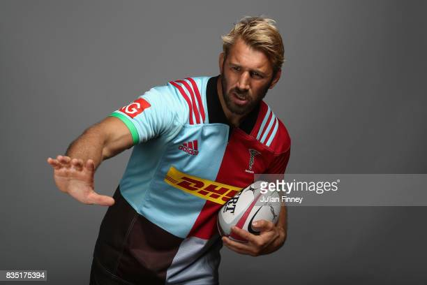 Chris Robshaw of Quins poses for a portrait during the Harlequins photocall for the 20172018 Aviva Premiership Rugby season at The Stoop on August 18...