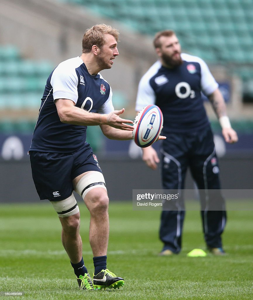<a gi-track='captionPersonalityLinkClicked' href=/galleries/search?phrase=Chris+Robshaw&family=editorial&specificpeople=2375303 ng-click='$event.stopPropagation()'>Chris Robshaw</a> passes the ball during the England captain's run at Twickenham Stadium on February 1, 2013 in London, England.