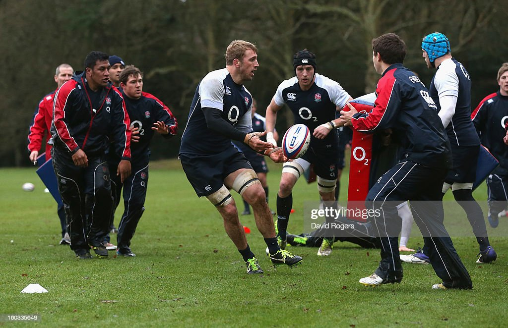 Chris Robshaw passes the ball during the England training session at Pennyhill Park on January 29, 2013 in Bagshot, England.