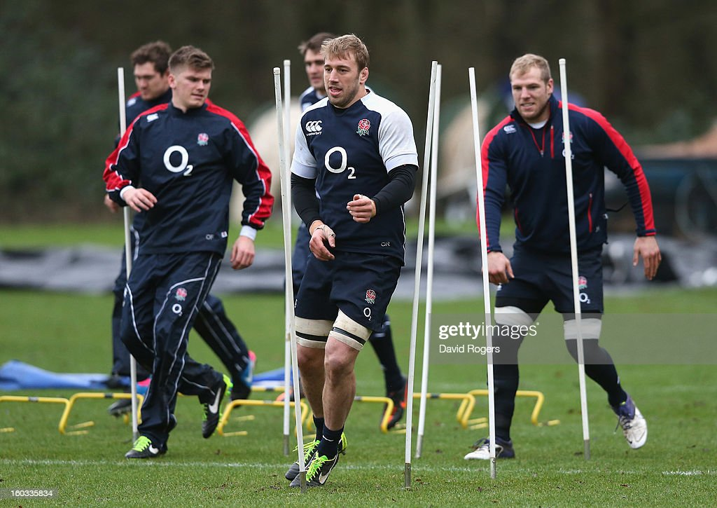 Chris Robshaw runs between the slalom poles during the England training session at Pennyhill Park on January 29, 2013 in Bagshot, England.