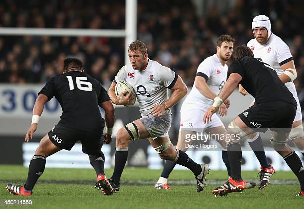 Chris Robshaw the England captain charges upfield during the International Test Match between the New Zealand All Blacks and England at Eden Park on...