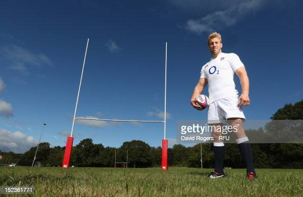 Chris Robshaw the England captain poses during the official launch of the new season's England Canterbury kit at Drybrook Rugby Club on September 19...