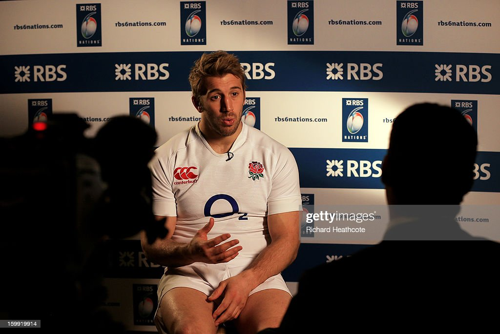 Chris Robshaw the England captain speaks with the media during the RBS Six Nations launch at The Hurlingham Club on January 23, 2013 in London, England.