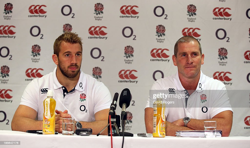 <a gi-track='captionPersonalityLinkClicked' href=/galleries/search?phrase=Chris+Robshaw&family=editorial&specificpeople=2375303 ng-click='$event.stopPropagation()'>Chris Robshaw</a>, (L) who has been named as England's captain for the autumn internationals, faces the media with head coach <a gi-track='captionPersonalityLinkClicked' href=/galleries/search?phrase=Stuart+Lancaster&family=editorial&specificpeople=2263180 ng-click='$event.stopPropagation()'>Stuart Lancaster</a> at the Weethall Hotel on October 23, 2013 in Leeds, England.