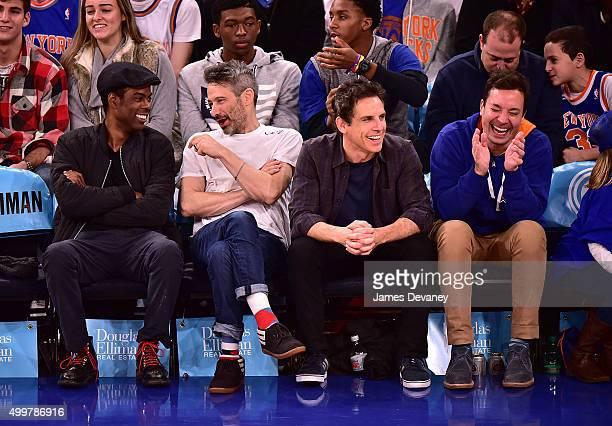 Chris Rock Adam Horovitz Ben Stiller and Jimmy Fallon attend Philadelphia 76ers vs New York Knicks game at Madison Square Garden on December 2 2015...