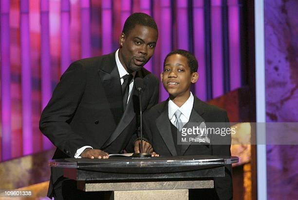 Chris Rock and Tyler James Williams presenters during The 37th Annual NAACP Image Awards Show at Shrine Auditorium in Los Angeles California United...