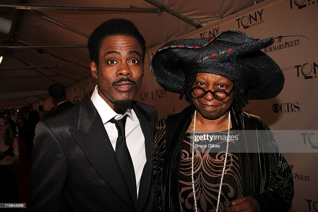 <a gi-track='captionPersonalityLinkClicked' href=/galleries/search?phrase=Chris+Rock&family=editorial&specificpeople=202982 ng-click='$event.stopPropagation()'>Chris Rock</a> (L) and <a gi-track='captionPersonalityLinkClicked' href=/galleries/search?phrase=Whoopi+Goldberg&family=editorial&specificpeople=202463 ng-click='$event.stopPropagation()'>Whoopi Goldberg</a> attend the 65th Annual Tony Awards at the Beacon Theatre on June 12, 2011 in New York City.