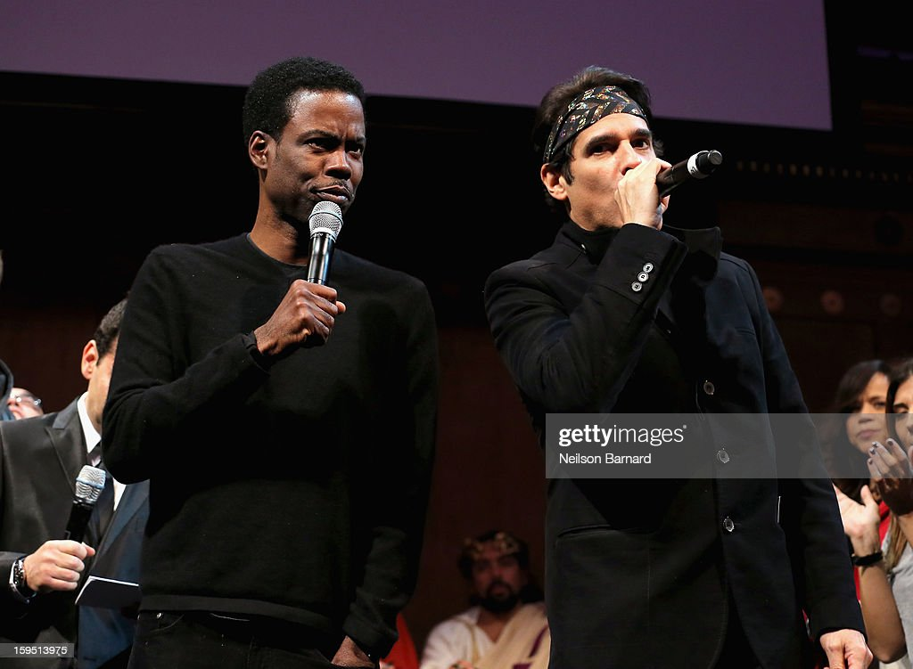 <a gi-track='captionPersonalityLinkClicked' href=/galleries/search?phrase=Chris+Rock&family=editorial&specificpeople=202982 ng-click='$event.stopPropagation()'>Chris Rock</a> and <a gi-track='captionPersonalityLinkClicked' href=/galleries/search?phrase=Yul+Vazquez&family=editorial&specificpeople=2491110 ng-click='$event.stopPropagation()'>Yul Vazquez</a> on stage at LAByrinth Theater Company Celebrity Charades 2013 Benefit Gala at Capitale on January 14, 2013 in New York City.