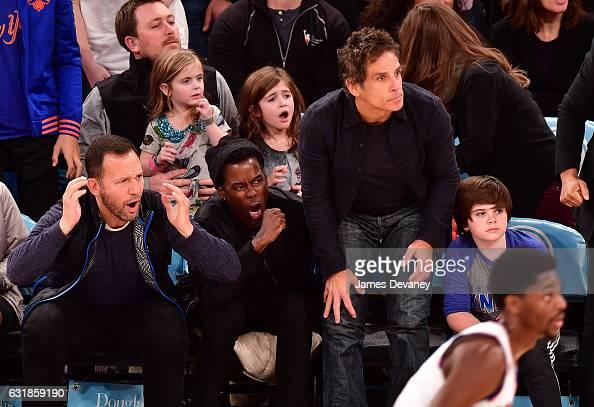 Chris Rock Ben Stiller and Quinlin Stiller attend Atlanta Hawks Vs New York Knicks game at Madison Square Garden on January 16 2017 in New York City