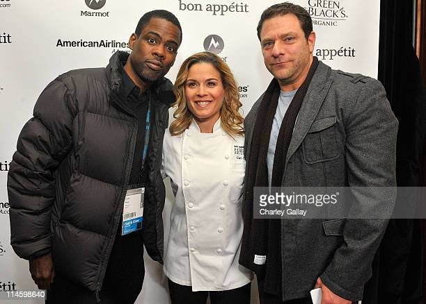 Chris Rock Bon Appetit Exec Chef Cat Cora and Publisher Bon Appetit Paul Jowdy attend Bon Appetit Supper Club 'Good Hair' Dinner at Skylodge on...