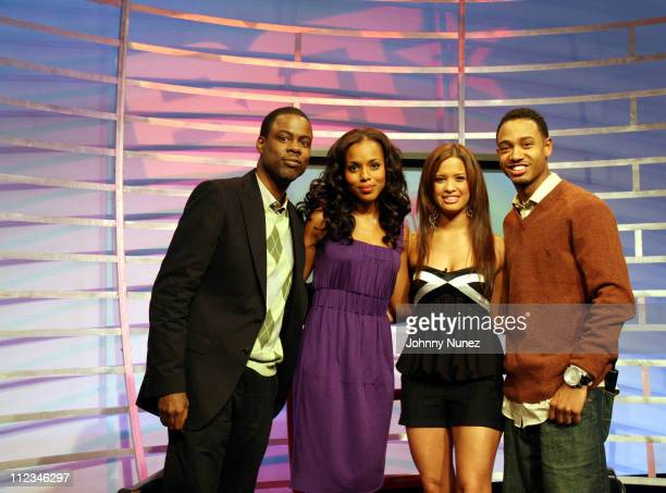 Chris Rock Kerry Washington Rocsi and Terrence during Chris Rock Kerry Washington and NEYO Visit '106 Park' March 16 2007 at BET in New York CIty New...