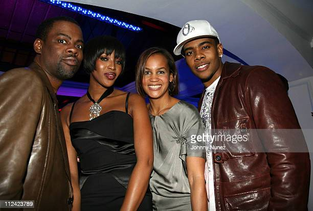 Chris Rock Naomi Campbell Erica Reid and Mario during Celebrate Mary Party Hosted by Jada and Will Smith Inside at Boulevard 3 in Hollywood...