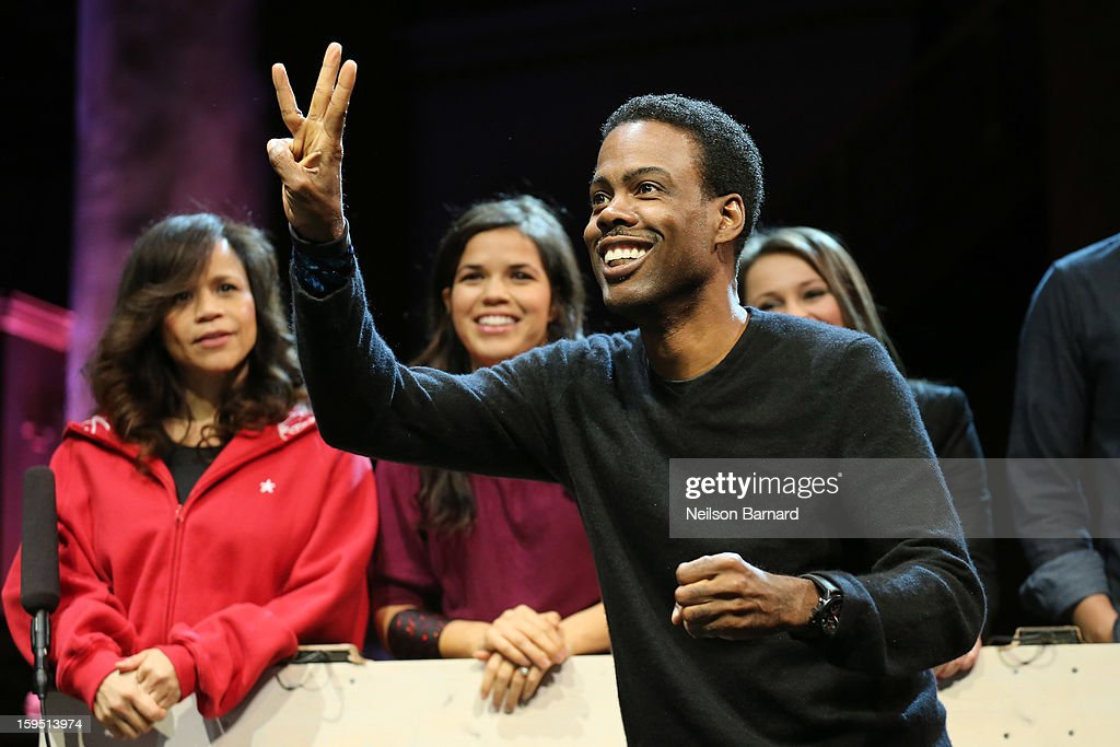 <a gi-track='captionPersonalityLinkClicked' href=/galleries/search?phrase=Chris+Rock&family=editorial&specificpeople=202982 ng-click='$event.stopPropagation()'>Chris Rock</a>, <a gi-track='captionPersonalityLinkClicked' href=/galleries/search?phrase=Rosie+Perez&family=editorial&specificpeople=171833 ng-click='$event.stopPropagation()'>Rosie Perez</a> and <a gi-track='captionPersonalityLinkClicked' href=/galleries/search?phrase=America+Ferrera&family=editorial&specificpeople=216393 ng-click='$event.stopPropagation()'>America Ferrera</a> onstage at LAByrinth Theater Company Celebrity Charades 2013 Benefit Gala at Capitale on January 14, 2013 in New York City.