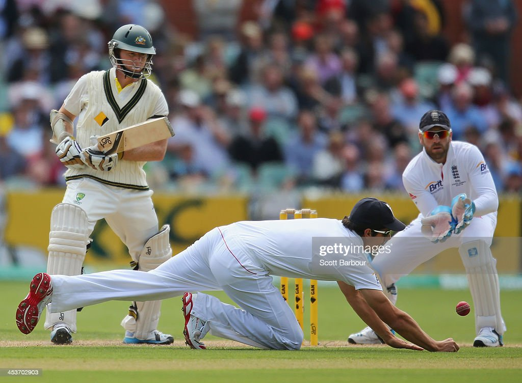 Chris Rogers of Australia bats as Alastair Cook of England fields during day one of the Second Ashes Test Match between Australia and England at Adelaide Oval on December 5, 2013 in Adelaide, Australia.