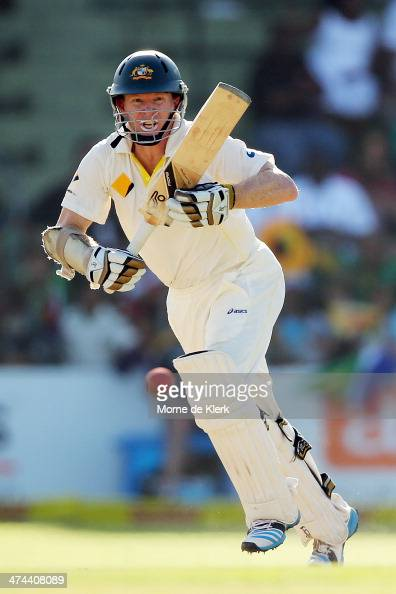 Chris Rogers of Australia bats during day four of the Second Test match between South Africa and Australia at AXXESS St George's Cricket Stadium on...
