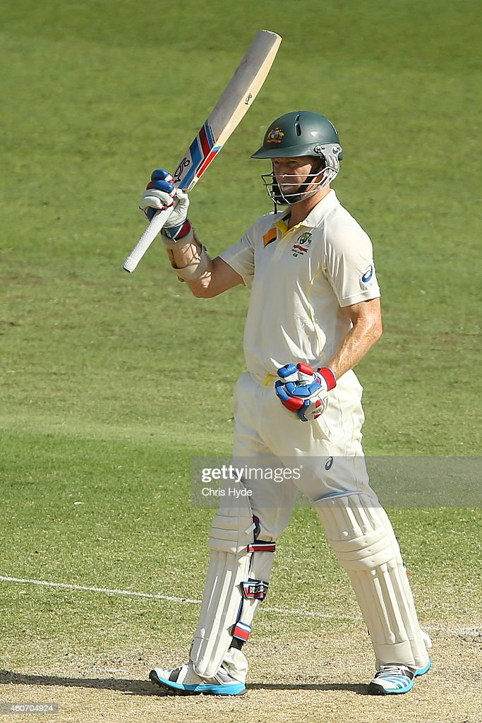 <a gi-track='captionPersonalityLinkClicked' href=/galleries/search?phrase=Chris+Rogers+-+Cricket+Player&family=editorial&specificpeople=178255 ng-click='$event.stopPropagation()'>Chris Rogers</a> of Australia celebrates a half century during day four of the 2nd Test match between Australia and India at The Gabba on December 20, 2014 in Brisbane, Australia.