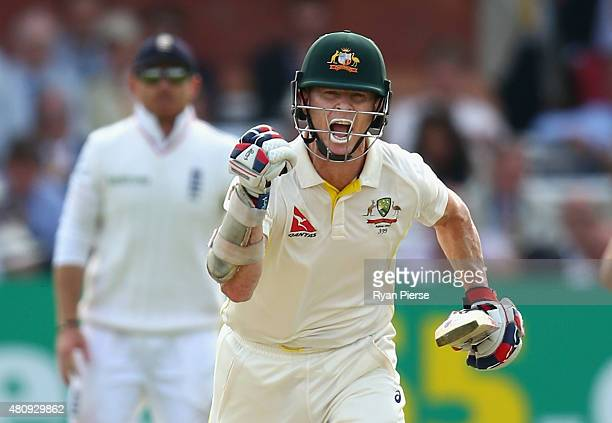 Chris Rogers of Australia celebrates after reaching his century during day one of the 2nd Investec Ashes Test match between England and Australia at...