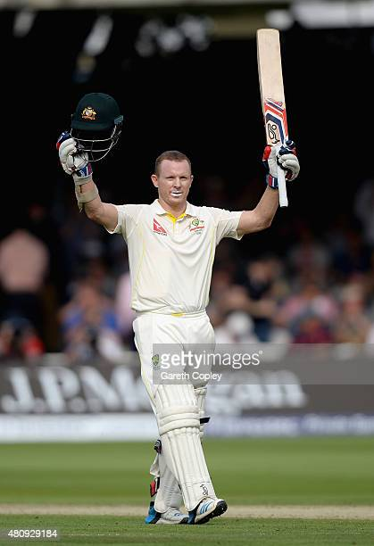 Chris Rogers of Australia celebrates reaching his century during day one of the 2nd Investec Ashes Test match between England and Australia at Lord's...