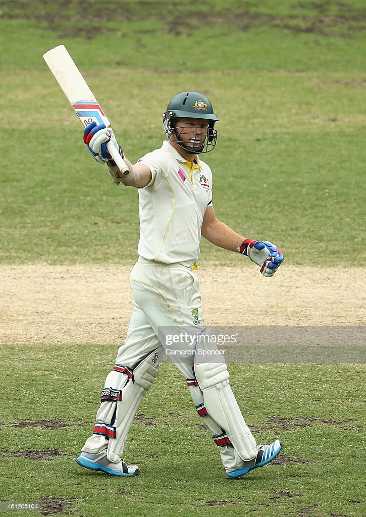 <a gi-track='captionPersonalityLinkClicked' href=/galleries/search?phrase=Chris+Rogers+-+Cricket+Player&family=editorial&specificpeople=178255 ng-click='$event.stopPropagation()'>Chris Rogers</a> of Australia celebrates scoring fifty runs during day four of the Fourth Test match between Australia and India at Sydney Cricket Ground on January 9, 2015 in Sydney, Australia.
