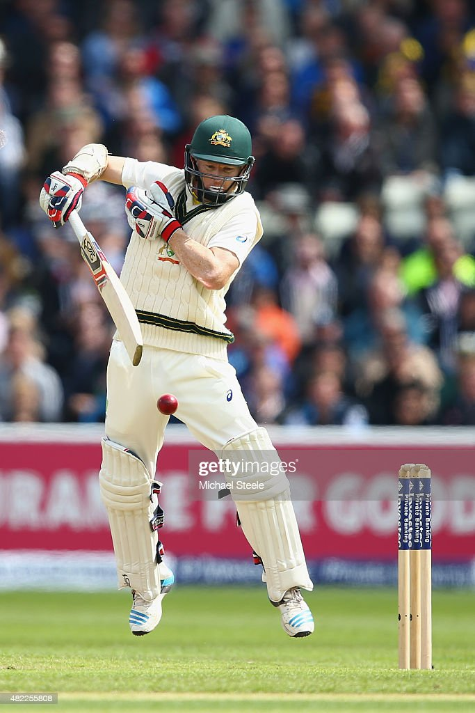 <a gi-track='captionPersonalityLinkClicked' href=/galleries/search?phrase=Chris+Rogers+-+Cricket+Player&family=editorial&specificpeople=178255 ng-click='$event.stopPropagation()'>Chris Rogers</a> of Australia fends a rising delivery from Stuart Broad of England during day one of the 3rd Investec Ashes Test match between England and Australia at Edgbaston on July 29, 2015 in Birmingham, United Kingdom.