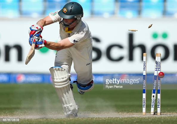 Chris Rogers of Australia is bowled by Imran Khan of Pakistan during Day Five of the First Test between Pakistan and Australia at Dubai International...