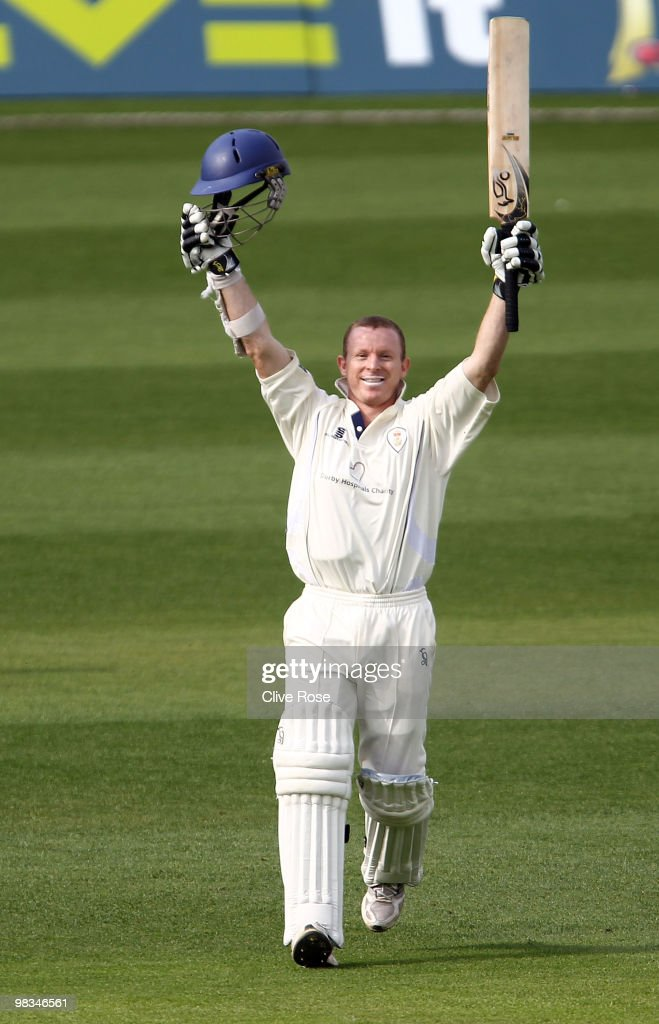 <a gi-track='captionPersonalityLinkClicked' href=/galleries/search?phrase=Chris+Rogers+-+Cricket+Player&family=editorial&specificpeople=178255 ng-click='$event.stopPropagation()'>Chris Rogers</a> of Derbyshire celebrates his century during the LV County Championship, Division two match between Surrey and Derbyshire at The Brit Oval on April 9, 2010 in London, England.