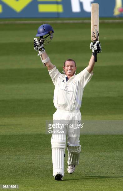 Chris Rogers of Derbyshire celebrates his century during the LV County Championship Division two match between Surrey and Derbyshire at The Brit Oval...