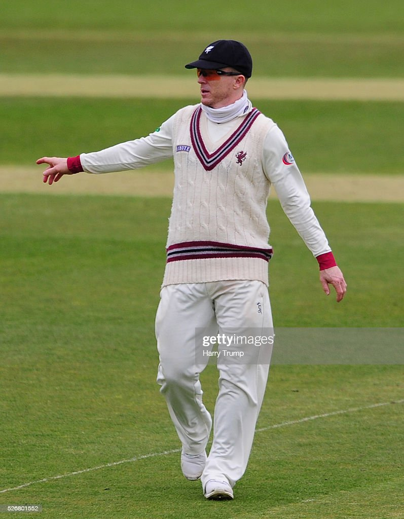 <a gi-track='captionPersonalityLinkClicked' href=/galleries/search?phrase=Chris+Rogers&family=editorial&specificpeople=178255 ng-click='$event.stopPropagation()'>Chris Rogers</a> of Somerset gestures during Day One of the Specsavers County Championship match between Somerset and Lancashire at the County Ground on May 01, 2016 in Somerset, United Kingdom.