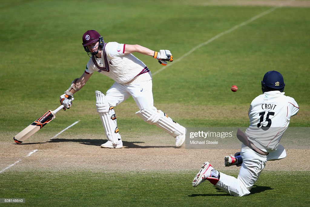 <a gi-track='captionPersonalityLinkClicked' href=/galleries/search?phrase=Chris+Rogers&family=editorial&specificpeople=178255 ng-click='$event.stopPropagation()'>Chris Rogers</a> of Somerset grounds his bat as Steven Croft of Lancashire attempts a run out during day four of the Specsavers County Championship Division One match between Somerset and Lancashire at The Cooper Associates County Ground on May 4, 2016 in Somerset, United Kingdom.