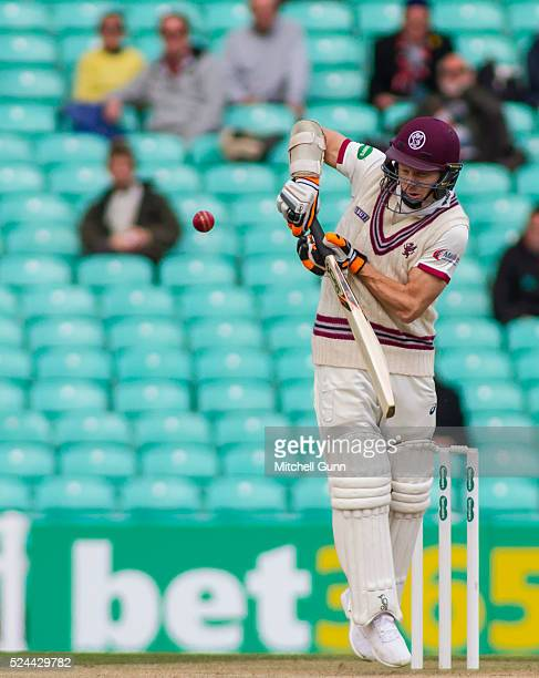 Chris Rogers of Somerset plays a shot during the Specsavers County Championship Division One match between Surrey and Somerset at the Kia Oval...