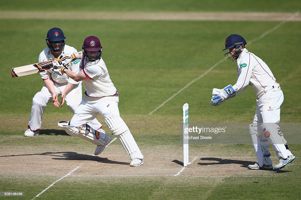 <a gi-track='captionPersonalityLinkClicked' href=/galleries/search?phrase=Chris+Rogers+-+Cricket+Player&family=editorial&specificpeople=178255 ng-click='$event.stopPropagation()'>Chris Rogers</a> of Somerset plays behind point as wicketkeeper Alex Davies looks on during day four of the Specsavers County Championship Division One match between Somerset and Lancashire at The Cooper Associates County Ground on May 4, 2016 in Somerset, United Kingdom.