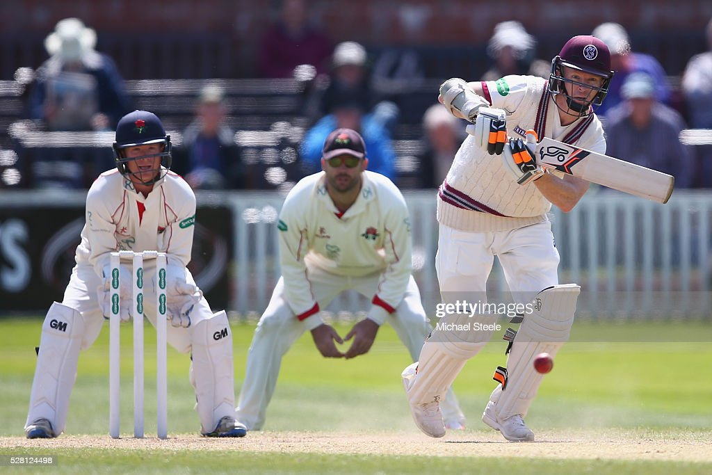 <a gi-track='captionPersonalityLinkClicked' href=/galleries/search?phrase=Chris+Rogers&family=editorial&specificpeople=178255 ng-click='$event.stopPropagation()'>Chris Rogers</a> of Somerset plays to mid on off the bowling of Simon Kerrigan of Lancashire during day four of the Specsavers County Championship Division One match between Somerset and Lancashire at The Cooper Associates County Ground on May 4, 2016 in Somerset, United Kingdom.