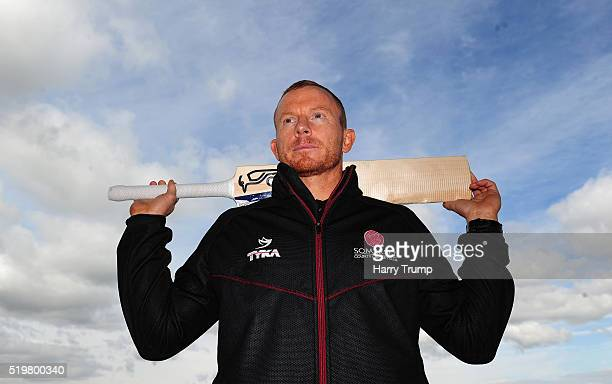 Chris Rogers of Somerset poses during the Somerset CCC Photocall at the County Ground on April 8 2016 in Taunton England