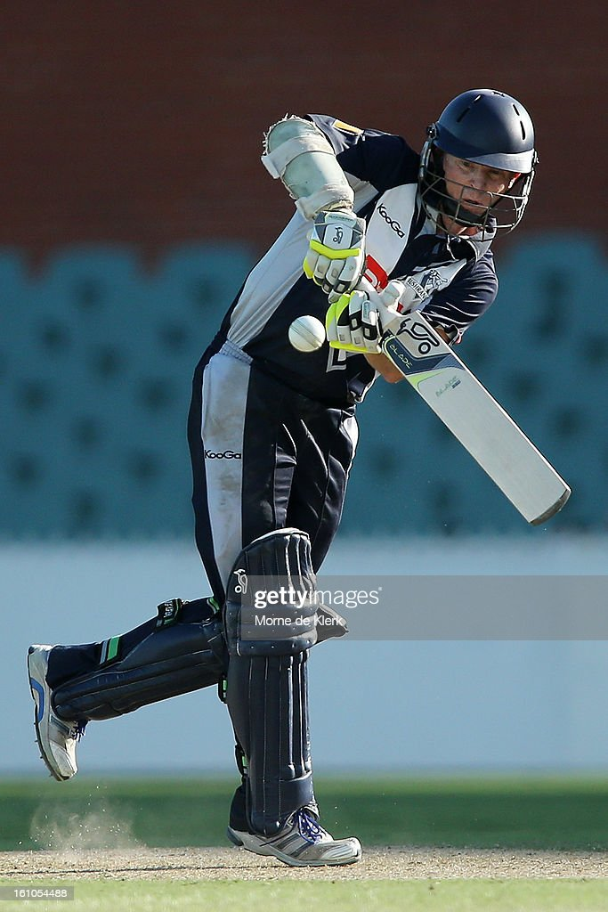 Chris Rogers of the Bushrangers bats during the Ryobi One Cup Day match between the South Australian Redbacks and the Victorian Bushrangers at Adelaide Oval on February 9, 2013 in Adelaide, Australia.