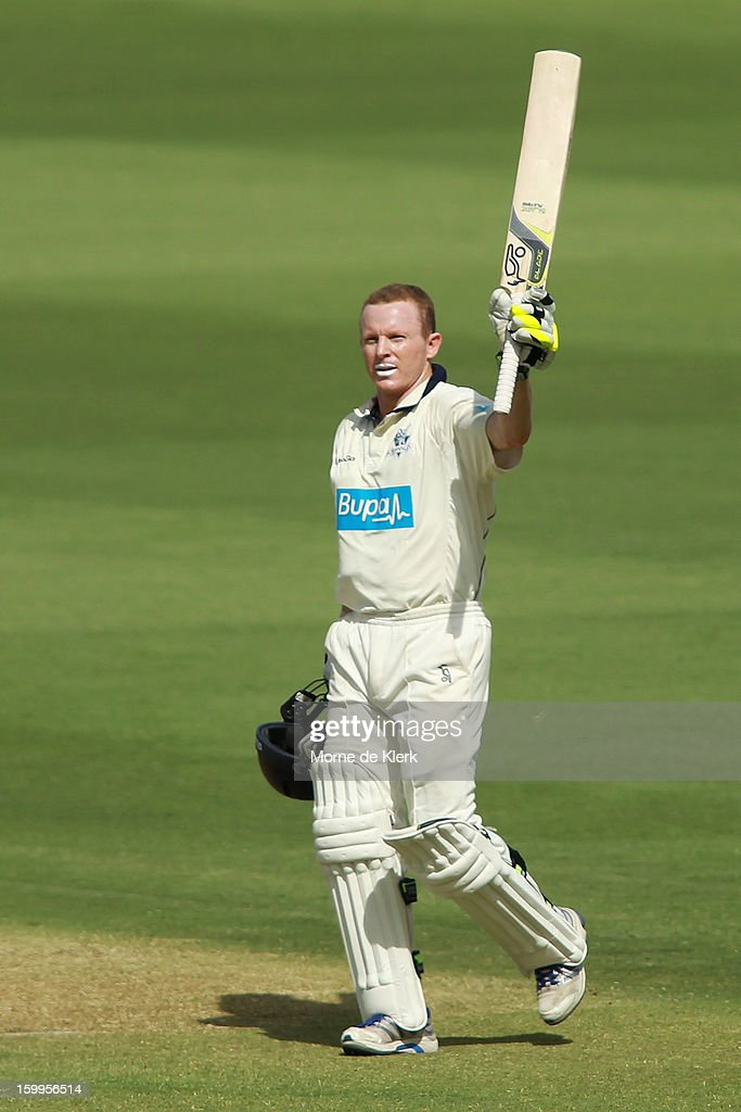 <a gi-track='captionPersonalityLinkClicked' href=/galleries/search?phrase=Chris+Rogers+-+Cricket+Player&family=editorial&specificpeople=178255 ng-click='$event.stopPropagation()'>Chris Rogers</a> of the Bushrangers celebrates after reaching 100 runs during day one of the Sheffield Shield match between the South Australia Redbacks and the Victoria Bushrangers at Adelaide Oval on January 24, 2013 in Adelaide, Australia.